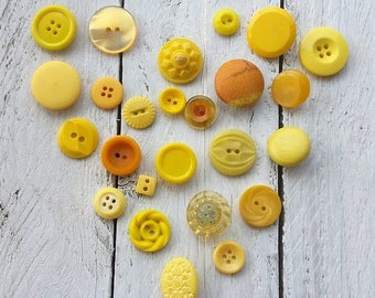 Vintage yellow button collection #2