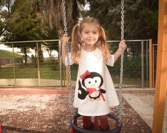 Penguin Dress-Applique Penguin dress,Handmade dress,girl's dress,birthday dress,party dress,christmass dress