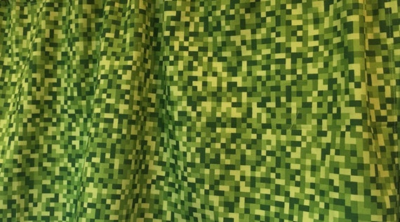 Rare minecraft green creeper pixel bitmap cut by thesewsavvy for Minecraft fabric by the yard