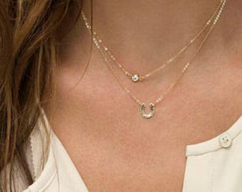 Golden Dual Layer Crystal & Horseshoe Necklace