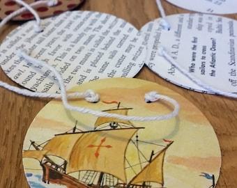 "Vintage ""Boats & Ships"" book paper garland w/ red metallic polka dots"