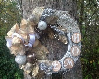 Christmas Wreath, Winter Wreath, Front door wreath,Welcome Wreath, Rustic wreath, Natural wreath, Seasonal wreath, Poinsettia Wreath