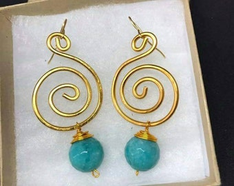 Wire earrings and Pearl faceted turquoise