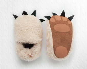 bear slippers, baby bear, cute baby slippers, fuzzy baby slippers, infant fur slippers, cub slippers, claw slippers, newborn baby booties
