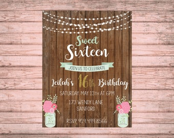 sweet sixteen invitation ~ rustic invitation