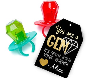 You are a Gem valentines to attach to ring pops or ring pop gummies gummys for kids classroom valentine card idea boy girl gold black silver