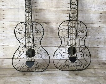 Vintage Wrought Iron Folk Art Guitar
