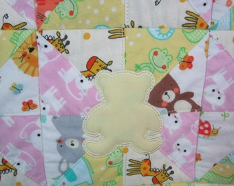 """Machine Embroidered Baby Quilt, Crib Quilt, Baby Quilt, Handmade Baby Quilt - Radial Teddys - approx 34"""" x 41"""""""