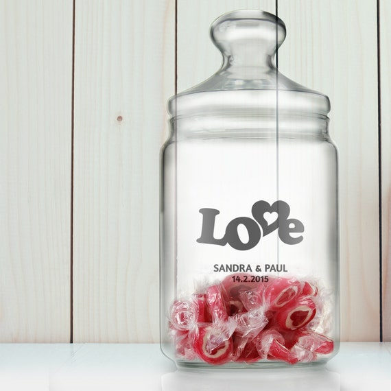 """Sweet Jar – """"Love"""" – Beautifully Etched - Personalised With Name And Date – Wedding or Love Gift Ideas"""