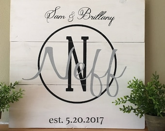 Custom White Washed Monogram Board
