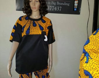 Africa print crop pants and top