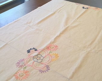 Table runner, hand embroidered with pastel floral design