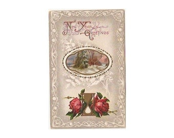 Vintage New Year Post Card Greetings 1910 Roses Winter Hourglass Snow J J Marks