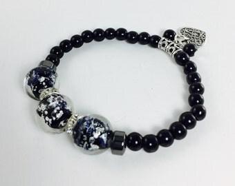 Black bracelet Beaded Bracelet Glass beads bracelet Stretchy bracelet Valentine's Day bracelet Love charm bracelet Charm bracelet