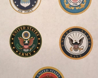 Precut Military Toppers  - Pick one or all of them - Edible images for cakes, cupcakes and cookies