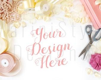 White Desk, Stock Photo, Fashion, Jewelry, Feminine Styled Stock Photography, Stock image, Product Mock up, Styled Desktop, Flatlay, 440