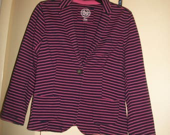 Vintage Navy, Pink Striped Cotton Knit Jacket Size L