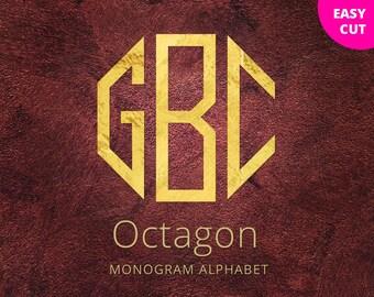Octagon svg Monogram font svg cut files dxf for Silhouette Studio Cricut Vinyl Cutter Heat Press Transfer svg clipart initials svg letters