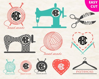 Sewing monogram Svg Sewing machine Svg Knitting Svg Craft tools Svg, Clew Svg, Сrochet Svg, Scissors Svg, Heart, Hand made Svg Сlothes rail