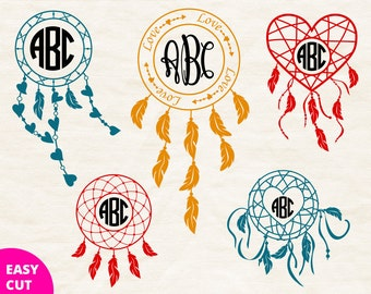 Dreamcatcher monogram svg cut files svg Circle frame download svg feather monogram border svg Cricut Round initial frame svg Silhouette dxf
