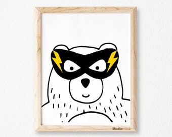 superhero print, Bear superhero, printable art, wall art decor, digital print, nursery wall sign, monochromatic art, boys art,Kids decor