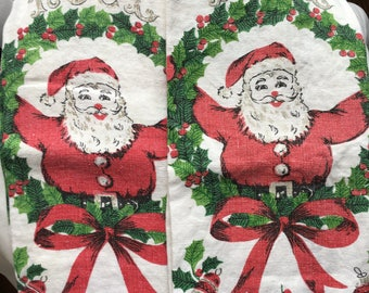 Vintage 1950's Floursack Christmas Towel - Pair