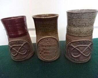 A Trio of Handmade Pottery Mugs/Vintage/1980s