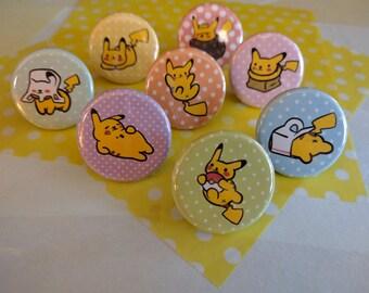 Neko Atsume Style Pikachu Pins! Set of 3, 6, and 8