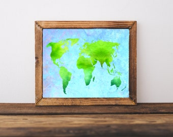Green World Map Print - Printable World Map, Modern World Map, Green Blue Map Art, World Map Poster, World Map Art, Digital World Map