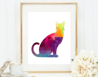 Geometric Cat Art, Kitty Triangle Art, Cat Geometric Print, Rainbow Cat Poster, Multicolor Cat, Digital Cat Art, Printable Cat Art