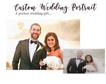 Bride Groom Portrait, Wedding art, Wedding portrait, Bride portrait, Wedding gift, Photo to Art, Photo to canvas, Wedding painting