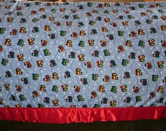 Trains Baby/Crib/Tummy Time Blanket - Soft Flannel ~45x45 with Satin Border