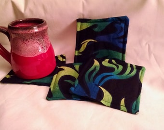 Flame Fabric Coasters - Set of Four - Ready to ship!