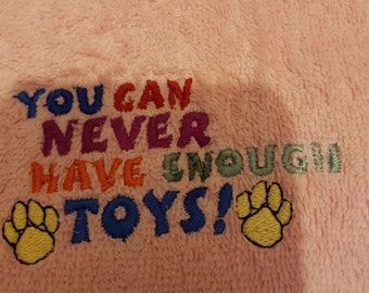 Embroidered soft pink dog/puppy towel personalised if required