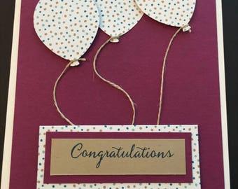 Congratulations Card, Handmade Card, Balloons, Stampin' Up! Designs