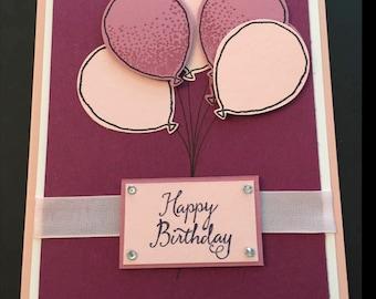 Birthday Card, Happy Birthday, Handmade Card, Balloons, Stampin' Up! Designs