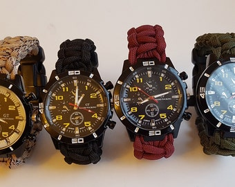 Tactical Edge Paracord Watch + Compass + Whistle + Fire Starter + Scraper and Paracord