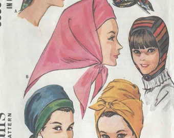 1965 Vintage Sewing Pattern HATS-SMALL & LARGE (R549) McCalls 8009