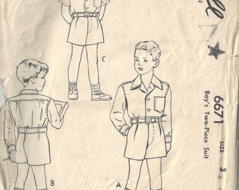 1940s Childrens Vintage Sewing Pattern S3 B22 Boys  SUIT SHORTS & TOP (C21)