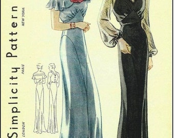 1939 Vintage Sewing Pattern B38 EVENING DRESS (R959) By Simplicity 1659