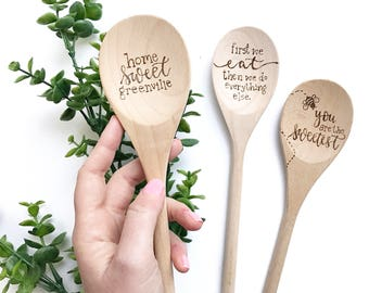 Custom Lettered Floral Wreath Design Personalized Wood Spoon