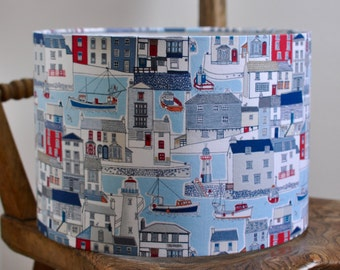 NEW: Hand rolled drum lampshade in red and blue seaside fishing village fabric