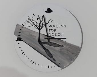 Waiting for godot, Samuel Beckett, wall clock, painting, handmade