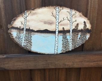 Scenic Serenity, wood slice, wood burned, mountains, lake, wood, rustic, country, southern, handmade, wood burning, christmas