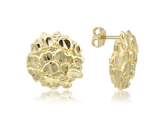 10K Solid Yellow Gold Round Nugget Stud Earrings - Diamond Cut
