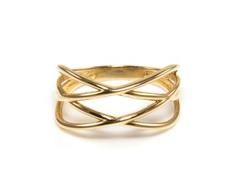 14K Solid Yellow Gold Crossover Ring - Stackable Finger Knuckle Midi Thumb Love Plain Band