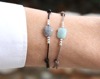 Cord bracelet rectangle faceted gem stones to choose amazonite and labradorite