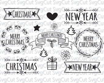 Merry christmas design svg file, holiday svg digital design - cutting files for silhouette, cricut & more - SVG dxf eps vinyl cut files