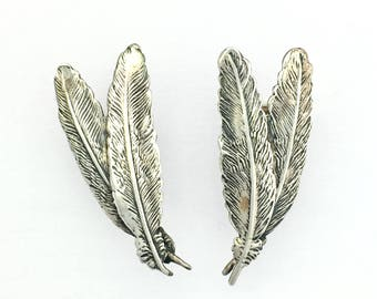 Large Sterling Silver Double Feather Screwback Earrings