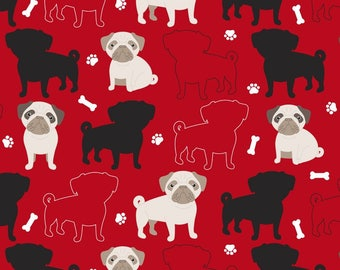 New! Oh My Pugg-ness Anti-Pill Fleece Fabric by the yard /David Textiles/Free shipping available/french bulldog/frenchie fabric/Pugs